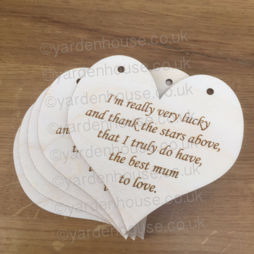 **5 Pack** I'm really very lucky... 10cm Birch ply hanging heart